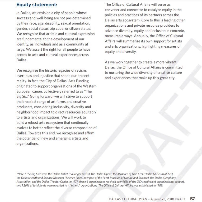 "Screenshot of ""Equity Statement"" from the draft of the Dallas Cultural Plan."