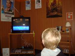 A young gamer takes on Ghouls and Ghosts, a video game from the '80s.