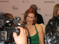 Dallas actress Arianne Martin fields questions on the red carpet.
