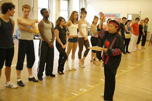 Lee working with the Broadway cast