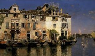 Martín Rico y Ortega (Spanish, 1833-1908), Fishermen's Houses on the Island, Venice, c. 1892-95, oil on canvas. Frick Art & Historical Center, Pittsburgh, 1984.62.