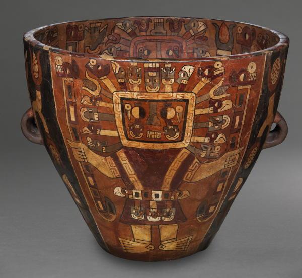 Urn with Staff Deities, ceramic and slip, Museo Nacional de Arqueologia, Antropologia e Historia, Peru
