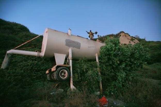 Convington atop the tank in 2008.