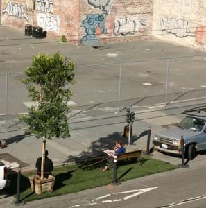 The original PARK(ing) Day installation by Rebar, San Francisco 2005