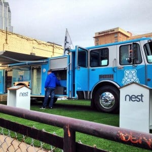 Nest, known for its smart thermostat and other 'Internet of Things' products, had a fire engine as centerpiece of its SXSW display in Austin. (via @CutlerDave on Twitter)