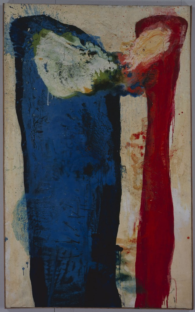 Sadamasa Motonaga, Kiss, 1959, Oil and synthetic resin on canvas, Private collection, Japan, on loan to Mie Prefectural Art Museum © 2015 Estate of Motonaga Sadamasa