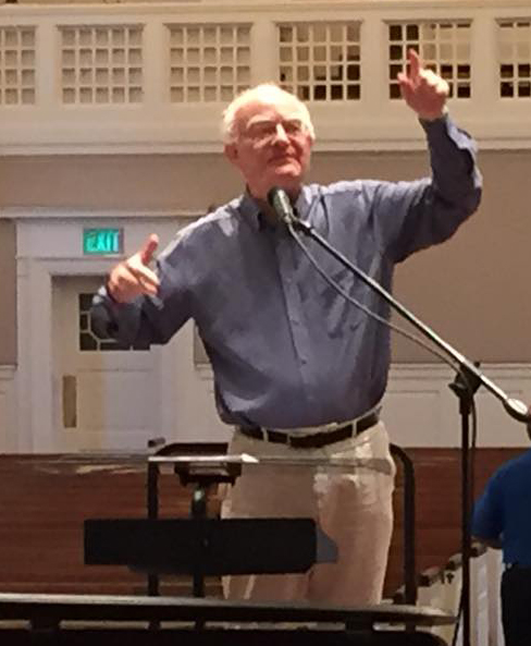 John Rutter, in rehearsal with the choir of Preston Hollow Presbyterian Church on April 15. (Tim Jerome)