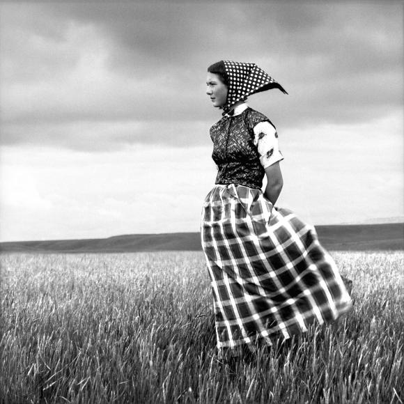 Hutterite Girl in Field, Duncan Ranch Colony, Harlowton, Montana, June 17, 1994