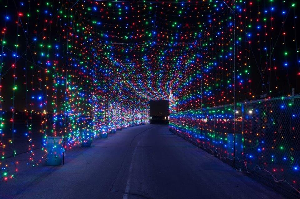 Drive through a tunnel of lights at Texas Motor Speedway.