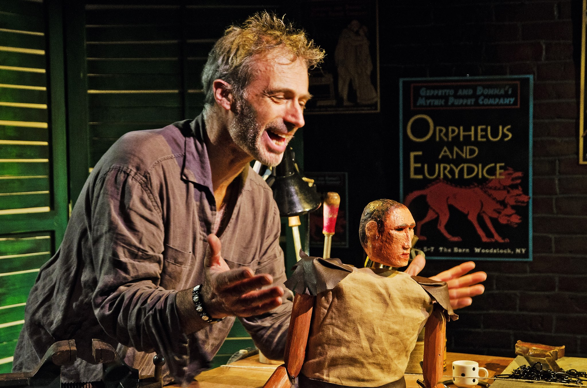 "Carlo Adinolfi manages multiple puppets in ""Geppetto: Extraordinary Extremeties."""