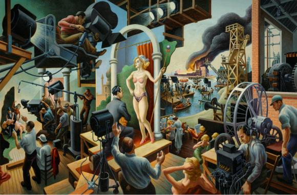 """Hollywood, 1937–38,"" by Thomas Hart Benton, Tempera with oil on canvas, mounted on panel ©T.H. Benton and R.P. Benton Testamentary Trusts/UMB Bank Trustee/Licensed by VAGA"
