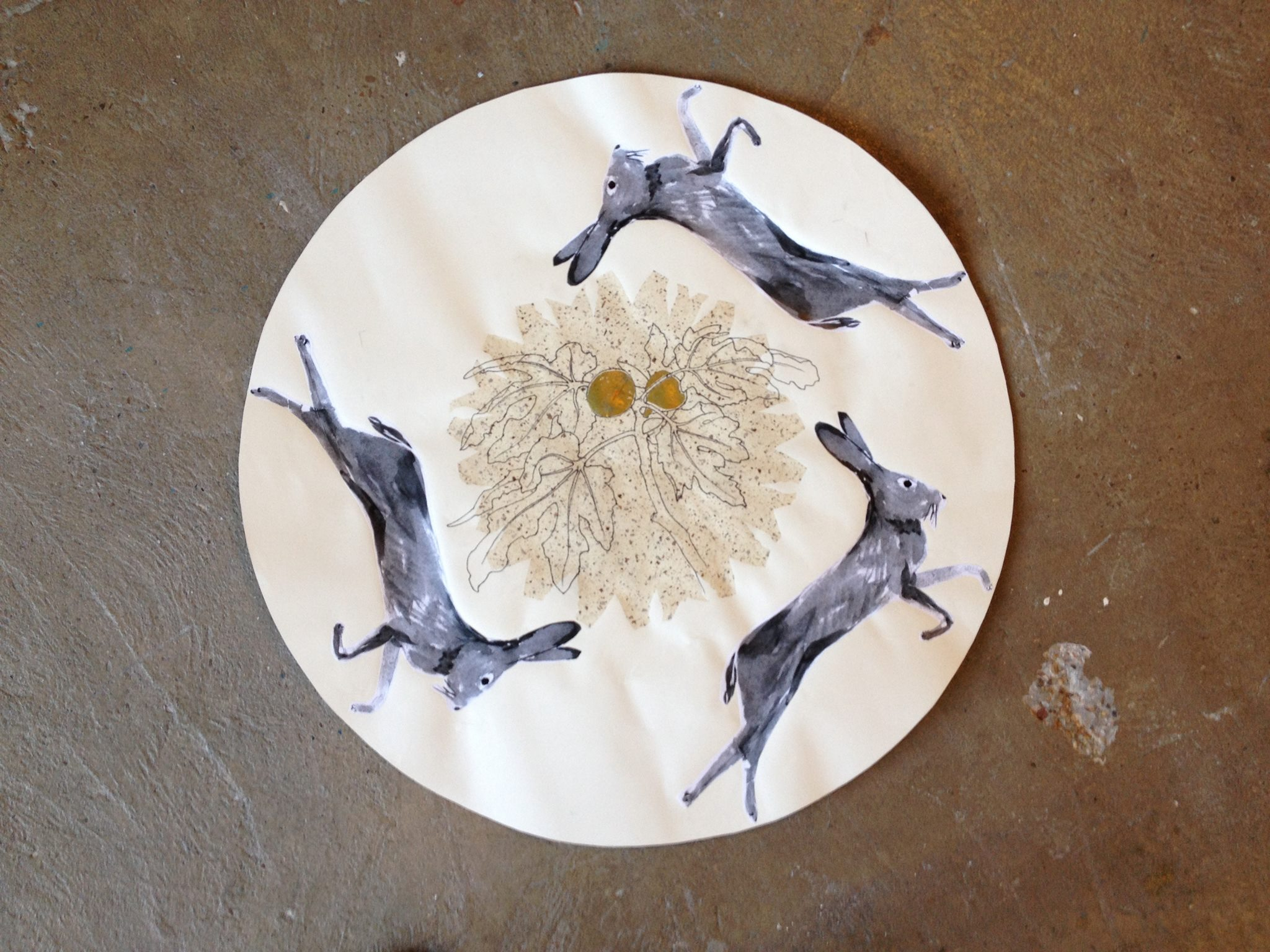 Jack rabbits with Figs, Deborah Mersky and Carol Ivey mixed media collaboration