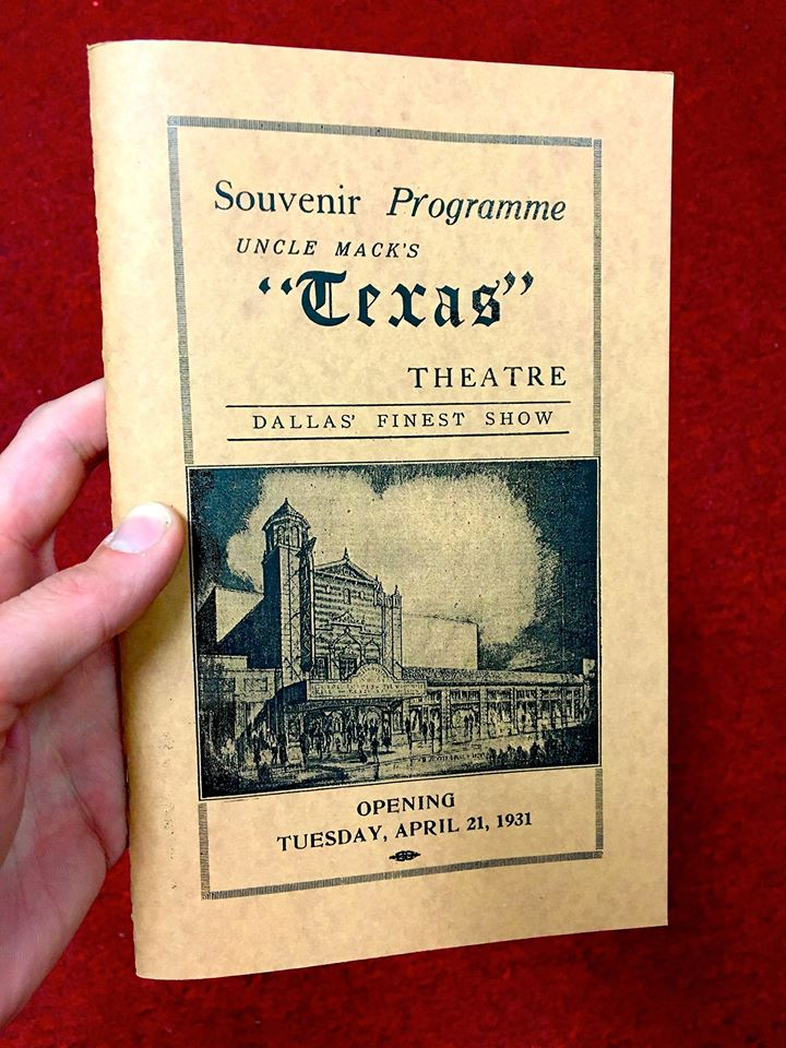 A recreation of opening night's playbill at the Texas Theatre.