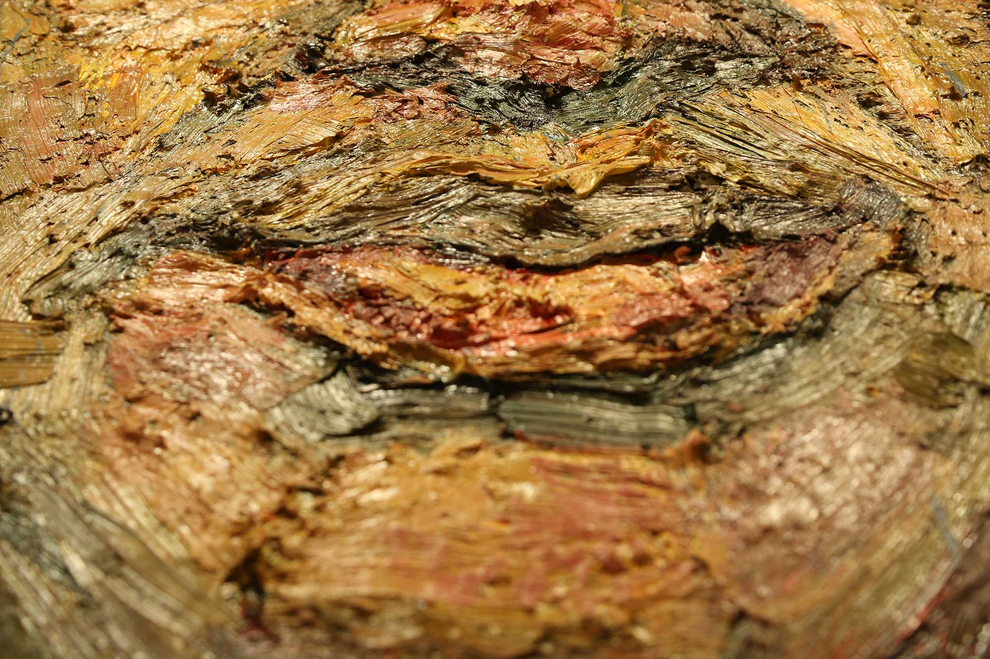 Close up of heavy texture of one of Sedrick's paintings.
