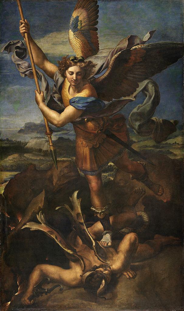 606px-Le_Grand_Saint_Michel,_by_Raffaello_Sanzio,_from_C2RMF_retouched