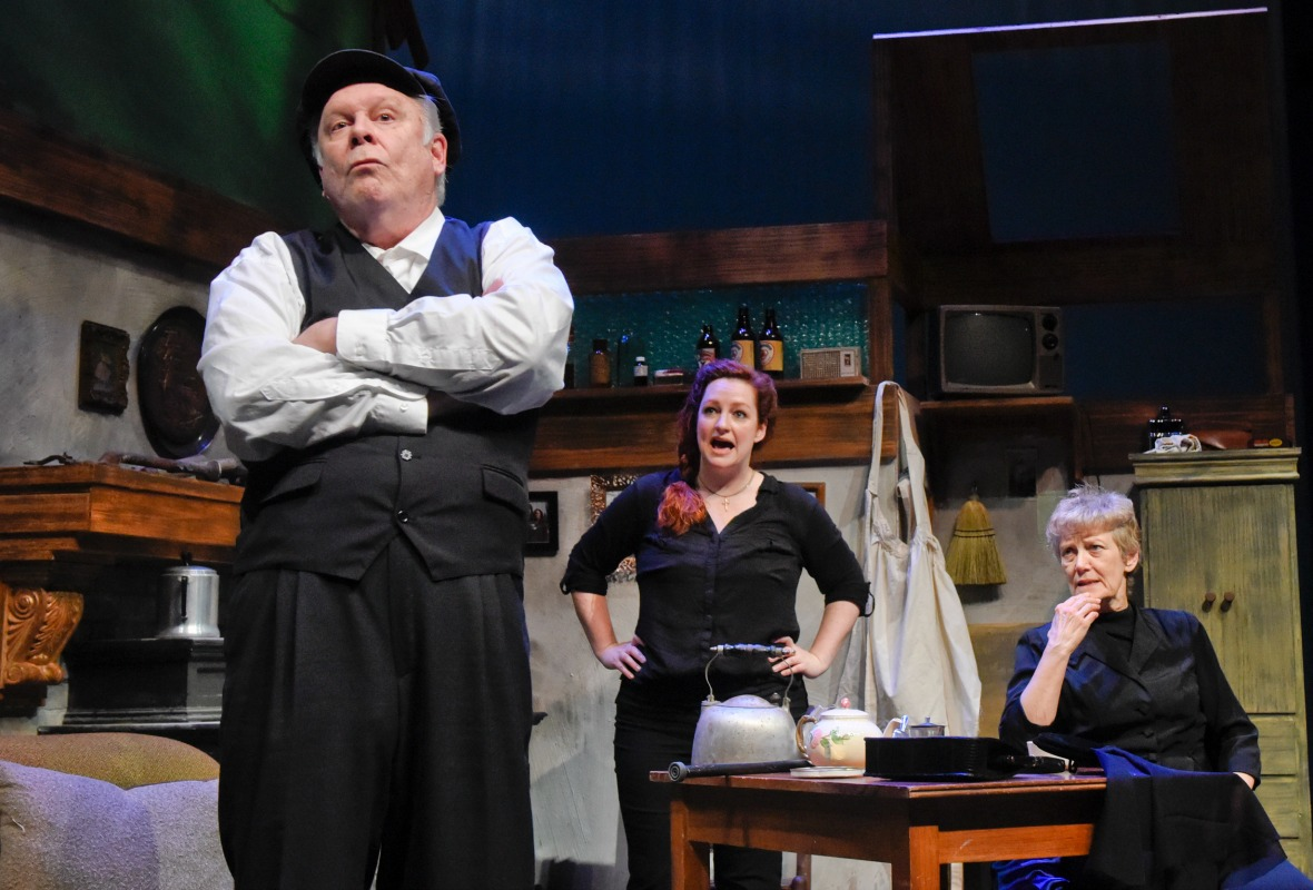 small John S Davies Jessica Cavanagh Gail Cronauer in Outside Mullingar at WaterTower Theatre Photo by Karen Almond