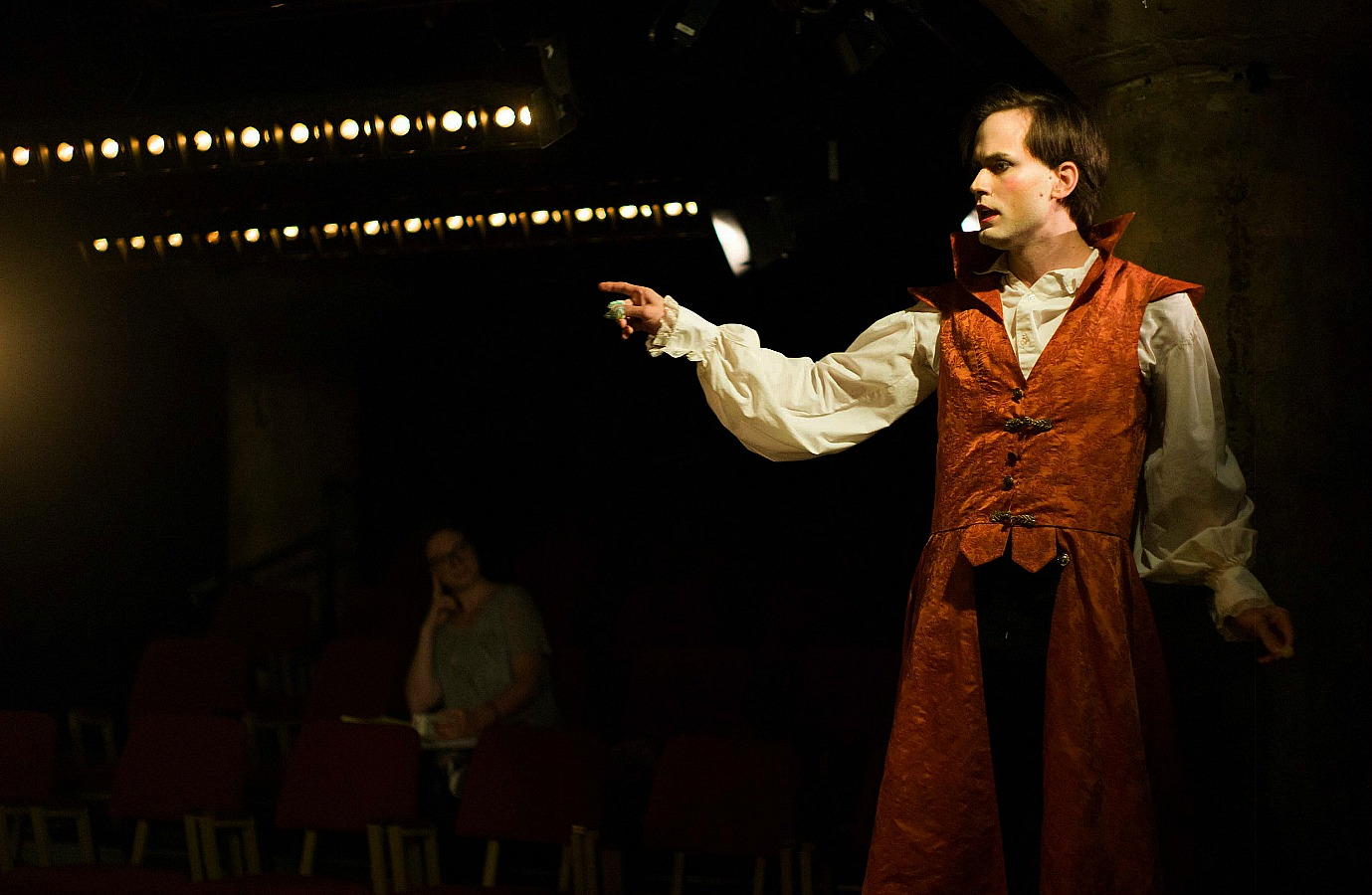 Pictured: Justin Locklear as Thomas Dread Rosey in Undermain Theatre's production of The Droll by Meg Miroshnik.