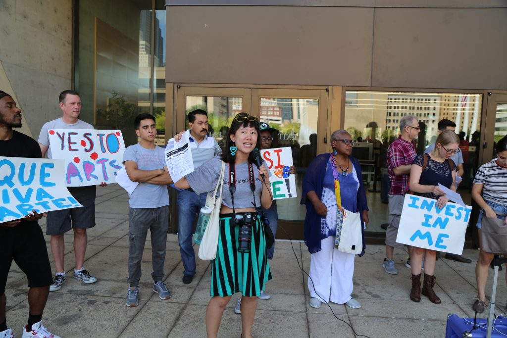 Zou at the Arts Equity Now rally in September. Photo: Hady Mawajdeh