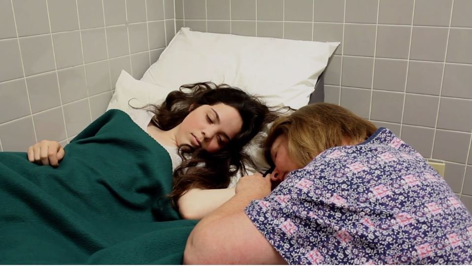 Mother and daughter in the hospital.
