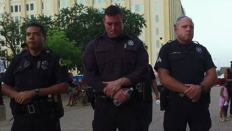 A still from the footage BIrnbaum shot at the memorial for Dallas police officers who lost their lives in the July shooting.