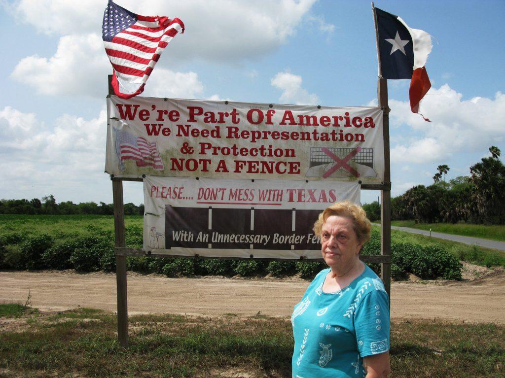 "Pamela Taylor, who lives near Brownsville, Texas, calls the border fence there ""useless."" Photo: John Burnett/NPR"