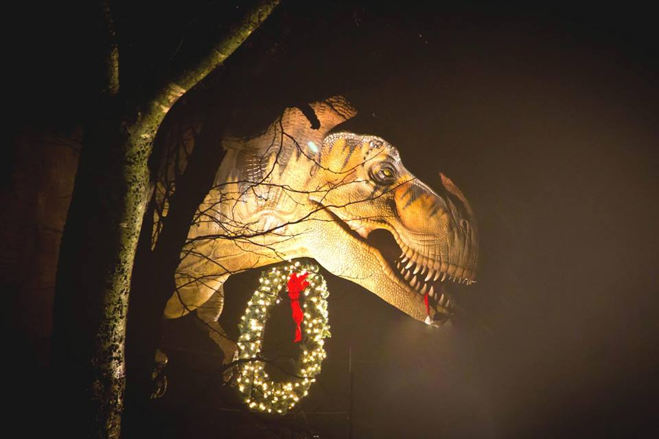 The dinosaurs are decked out in their holiday finest at the Heard. Photo: Heard Natural Science Museum & Wildlife Sanctuary