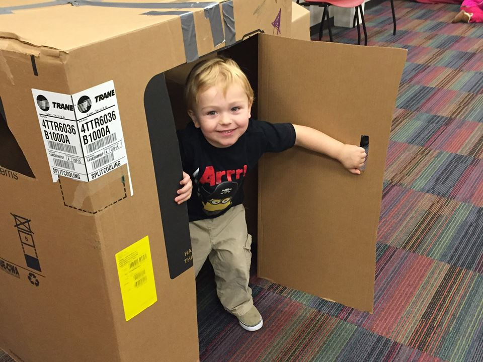 Big boxes are the best toys. Photo: Denton Public Library