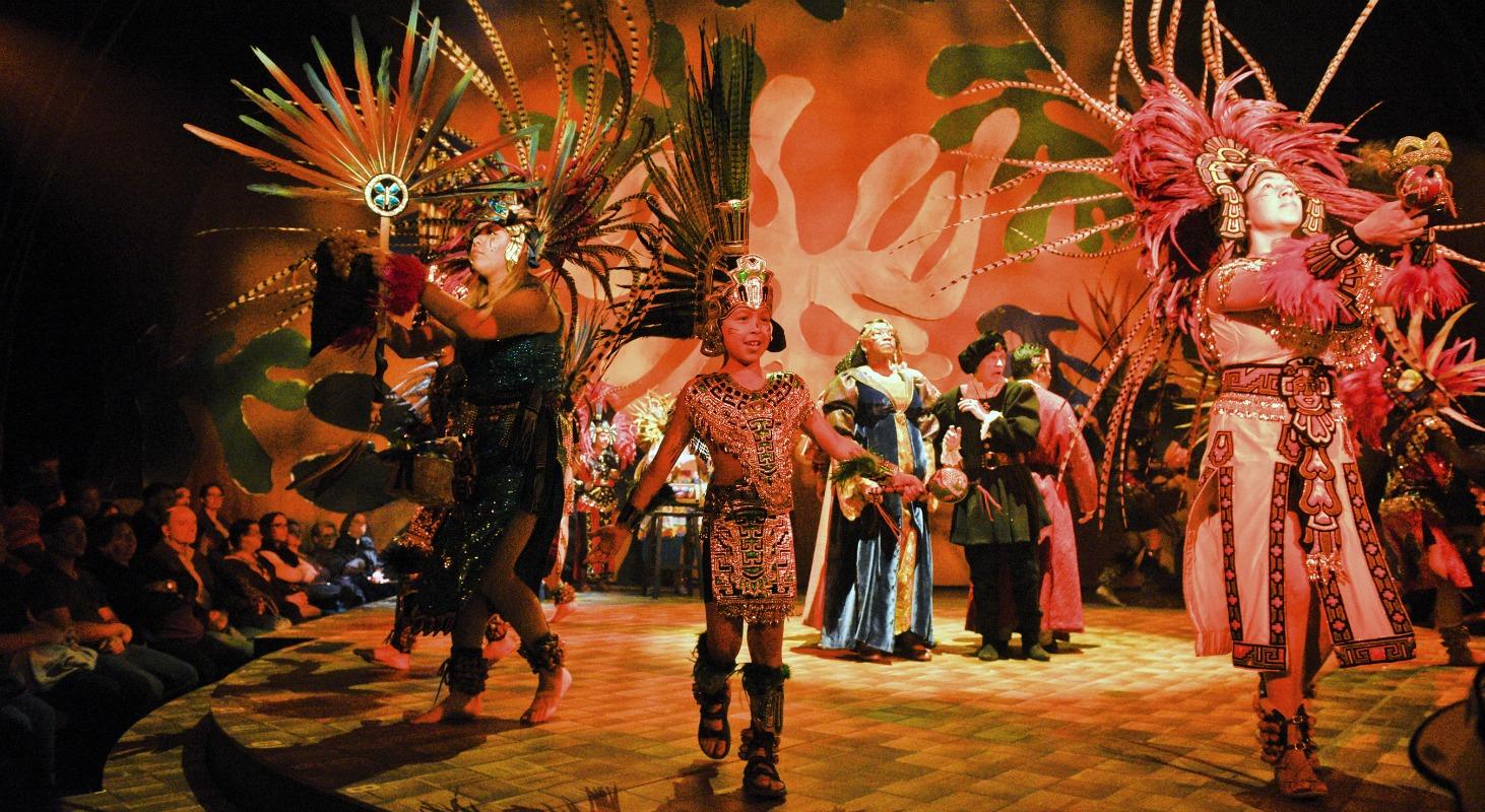 aztec dancers in dallas theater center's the tempest