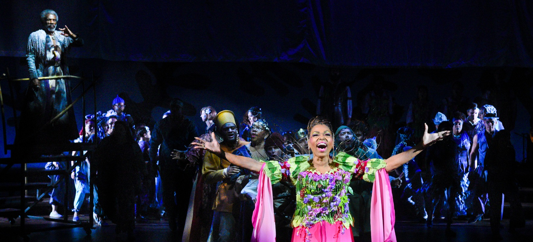Liz Mikel and cast in dallas theater center's the tempest