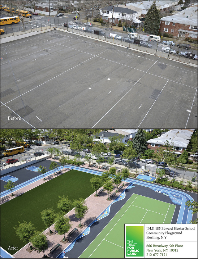 A New York City playground was reimagined from a cold asphalt pad to a welcoming new play space with natural elements. (New York Department of Environmental Protection)
