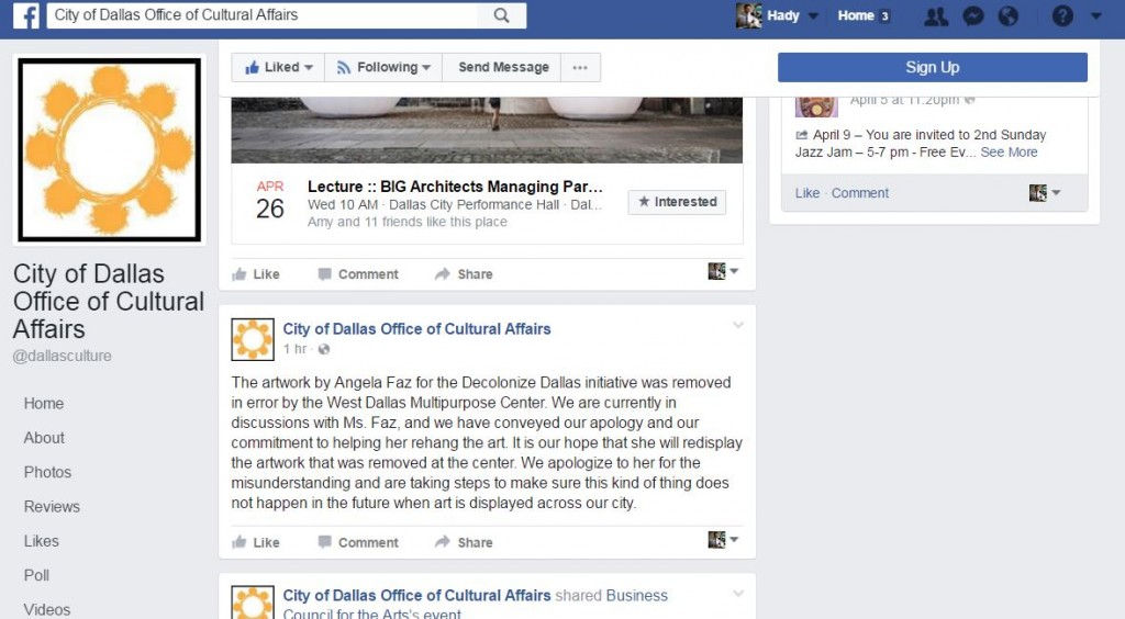 Screenshot of the Dallas Office of Cultural Affairs Facebook page.