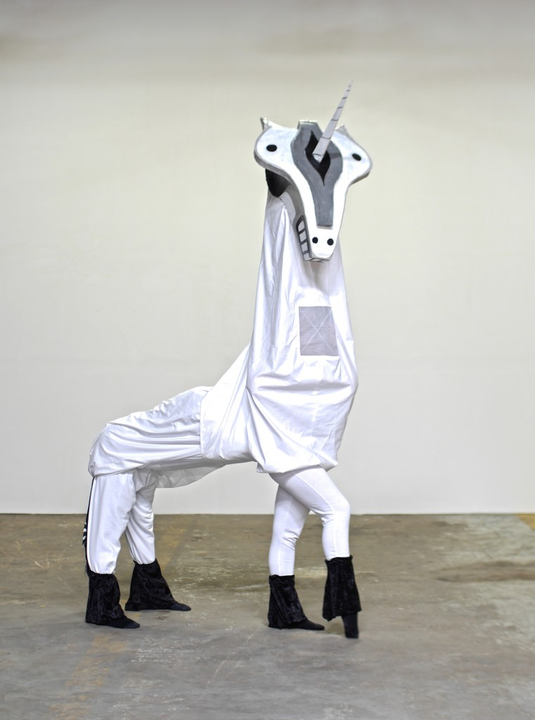 "Unicorn costume for ""Parade"" by Dallas artist Francisco Moreno."