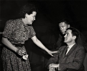 "(From left) Margo Jones with Jerome Lawrence and Robert Lee, authors of ""Inherit the Wind"""