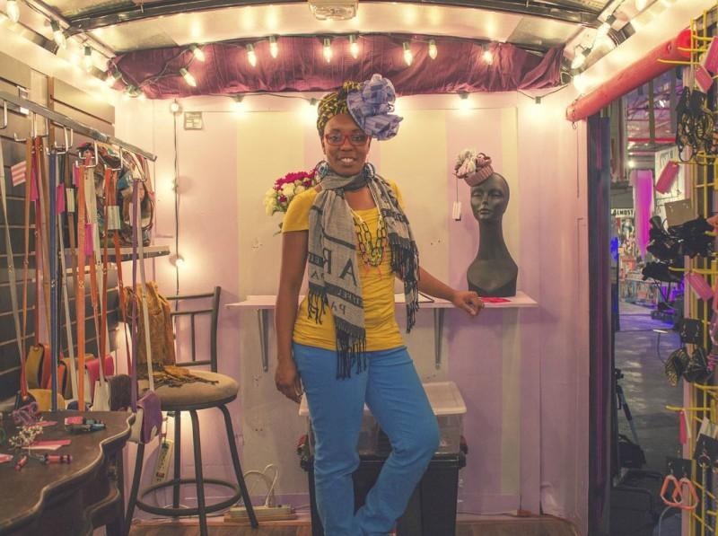 "Chesley Antoinette inside a pop up shop she calls ""Wearable Art on Wheels."" Photo: Meghan Nicole @Vintage Nine Studios"