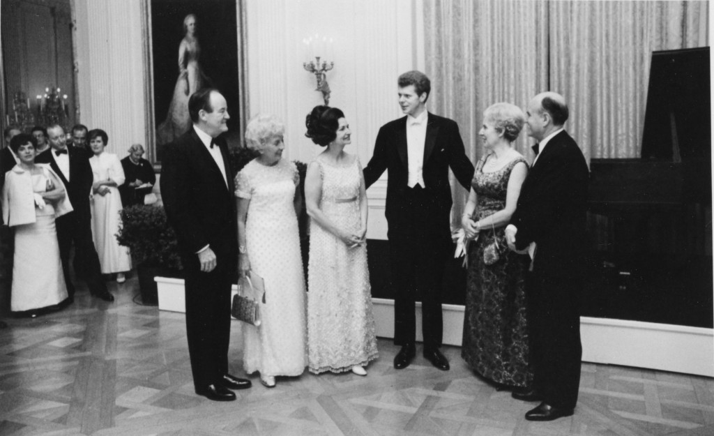 Van Cliburn with President and Mrs. Lyndon Baines Johnson and Vice-President Humhrey and Mrs. Humphrey on his right, April 10, 1968. Photo: The Cliburn