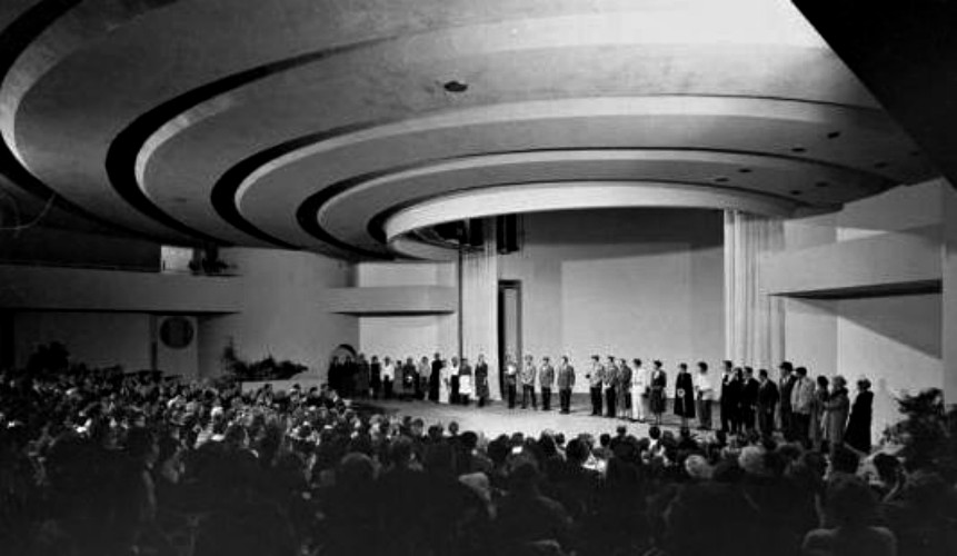 The original interior of the Frank Lloyd Wright-designed Kalita Humphreys Theater.