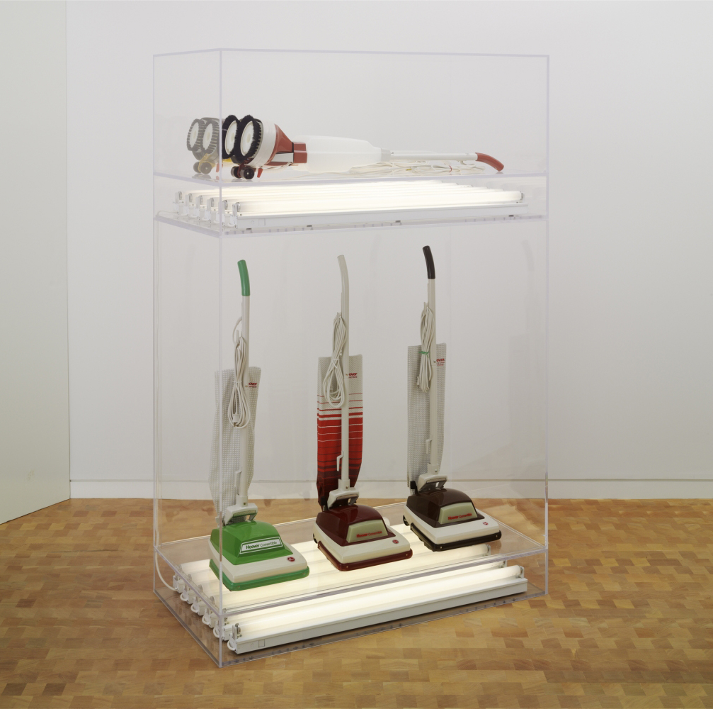 Jeff Koons New Hoover Convertibles, Green, Red, Brown, New Hoover Deluxe Shampoo Polishers, Yellow, Brown Doubledecker, 1981-87 Photo: Tim Nighswander