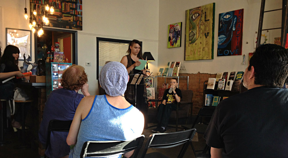 Open mic night at Deep Vellum bookstore.