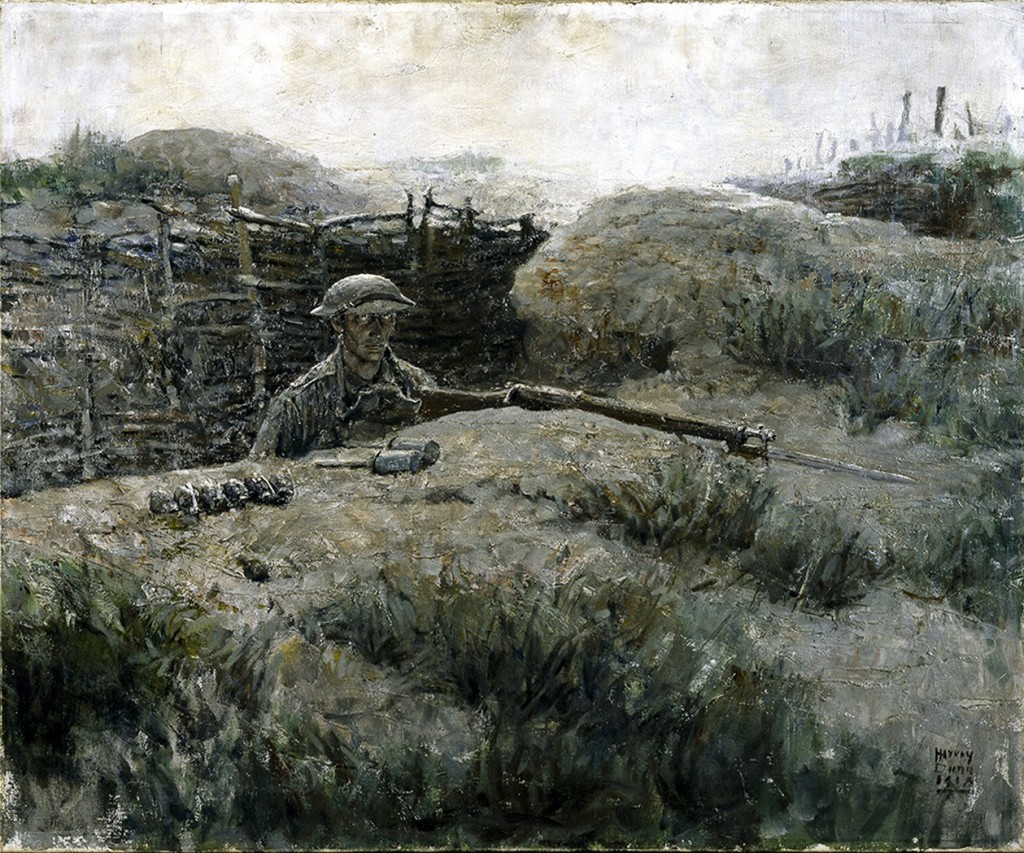 """Harvey Dunn's 1918 oil painting The Sentry shows a soldier coming up from the trenches. """"You see in his eyes what would later become known as the thousand-yard stare,"""" says exhibit curator Peter Jakab. Hugh Talman/National Museum of American History, Smithsonian Institution"""