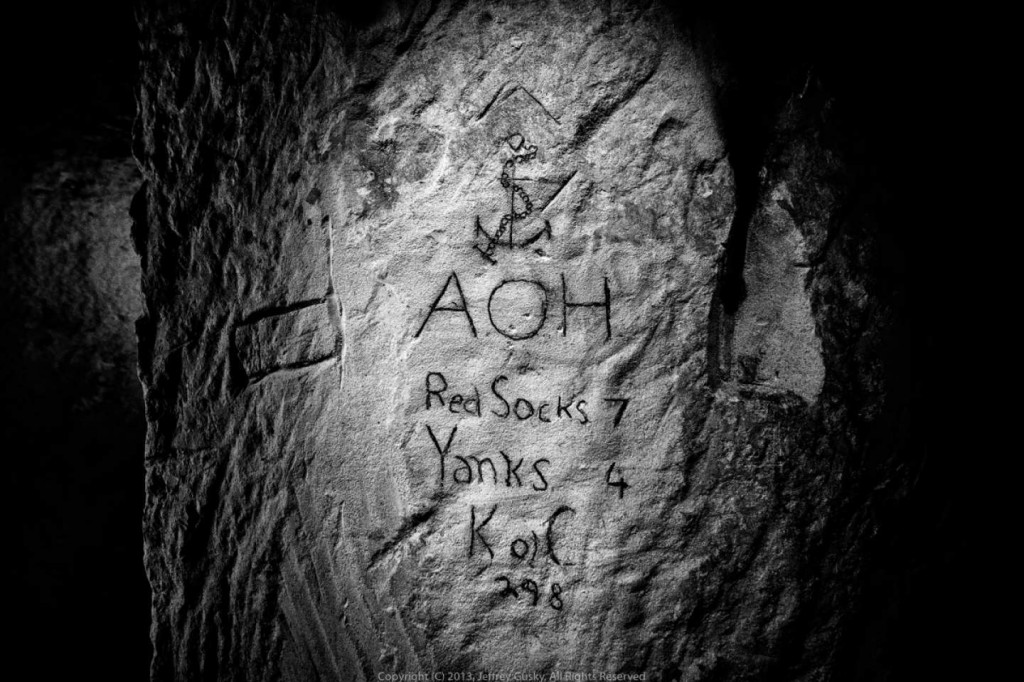 One soldier etched a baseball score into the quarry wall. Jeff Gusky/Courtesy of National Air And Space Museum