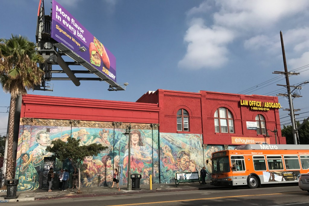 El Corrido de Boyle Heights, or The Ballad of Boyle Heights, was painted in 1983 by the East Los Streetscapers, an artist collective that painted a number of murals across Los Angeles' Boyle Heights neighborhood. Monika Evstatieva/NPR