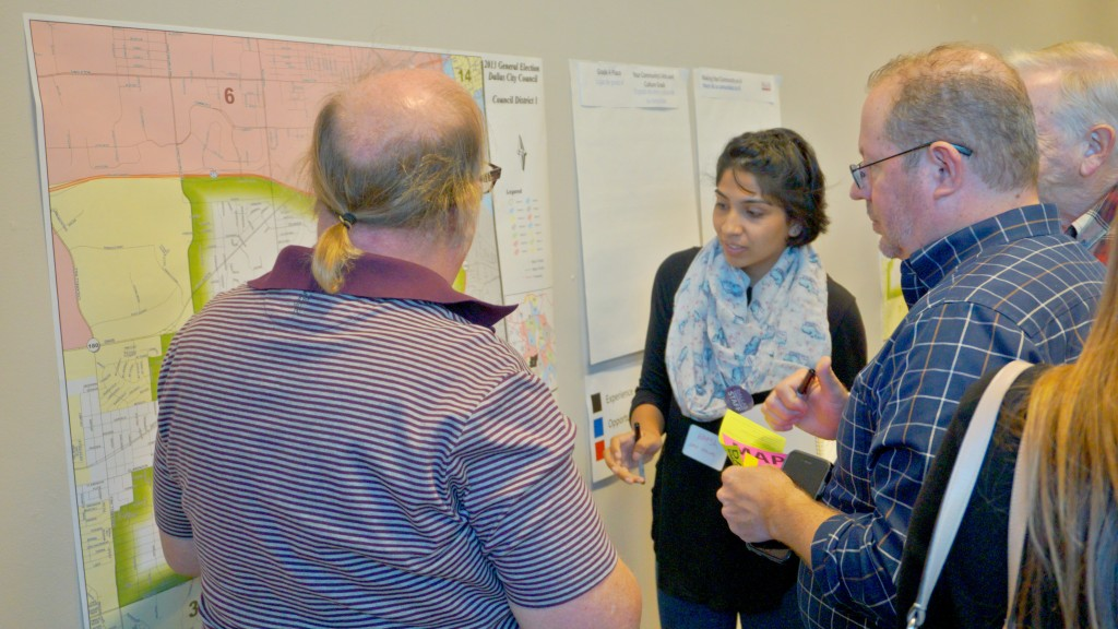[bc] workshop's Hafsa Ambreen works with citizens to map locations of culture. Brittney Dubose, Office of Cultural Affairs