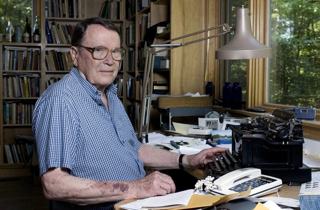 Poet Richard Wilbur, shown at his home in Cummington, Mass., in 2006, died on Saturday at the age of 96. Wilbur, a Pulitzer Prize-winning poet and translator, intrigued and delighted generations of readers and theatergoers through his rhyming editions of Moliere and his own verse on memory, writing and nature. Nancy Palmieri/AP