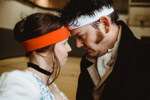 "Jenny Ledel and John-Michael Marrs in ""Pride and Prejudice."" Photo by Evan Michael Woods"