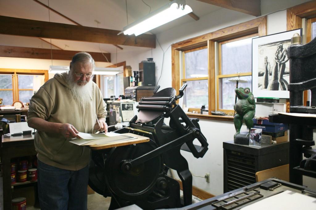 Gray Zeitz at his 1915 Chandler & Price printing press. Photo: Noah Adams/NPR