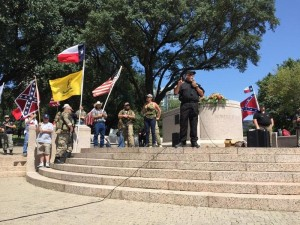 "The ""This Is Texas Freedom Force"" gathered to oppose the removal of Robert E. Lee statue. Photo: HADY MAWAJDEH"
