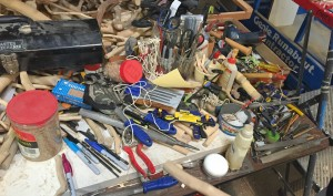 Some of the tools that cover Owens' worktable. Photo: Hady Mawajdeh