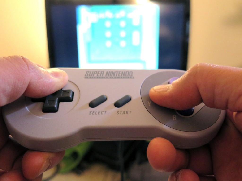 The Super NES Classic, a mini-version of one of the first Nintendo consoles, comes with a vintage controller. Photo: Adhiti Bandlamudi/NPR