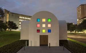 Ellsworth Kelly, Austin, 2015 (South façade). Artist-designed building with installation of colored glass windows, black and white marble panels, and redwood totem ©Ellsworth Kelly Foundation. Photo: Blanton Museum of Art, The University of Texas at Austin