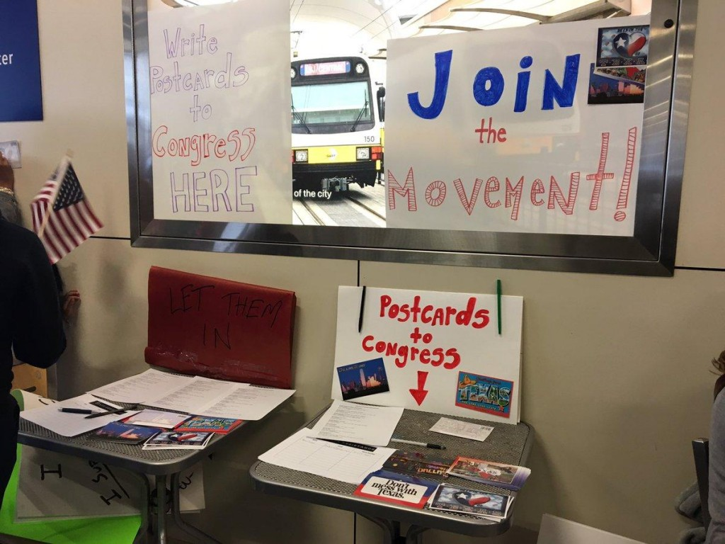 North Texas Resistance movement organizing to send post cards to congress at DFW Airport. Photo: Linah Mohammad/ KERA News